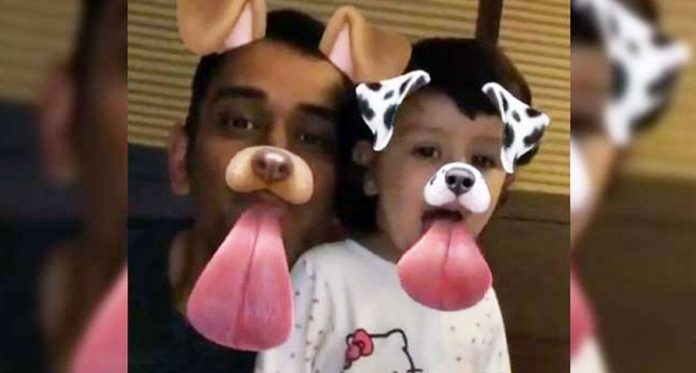 woof woof cute little ziva and daddy dhoni just did something really funny