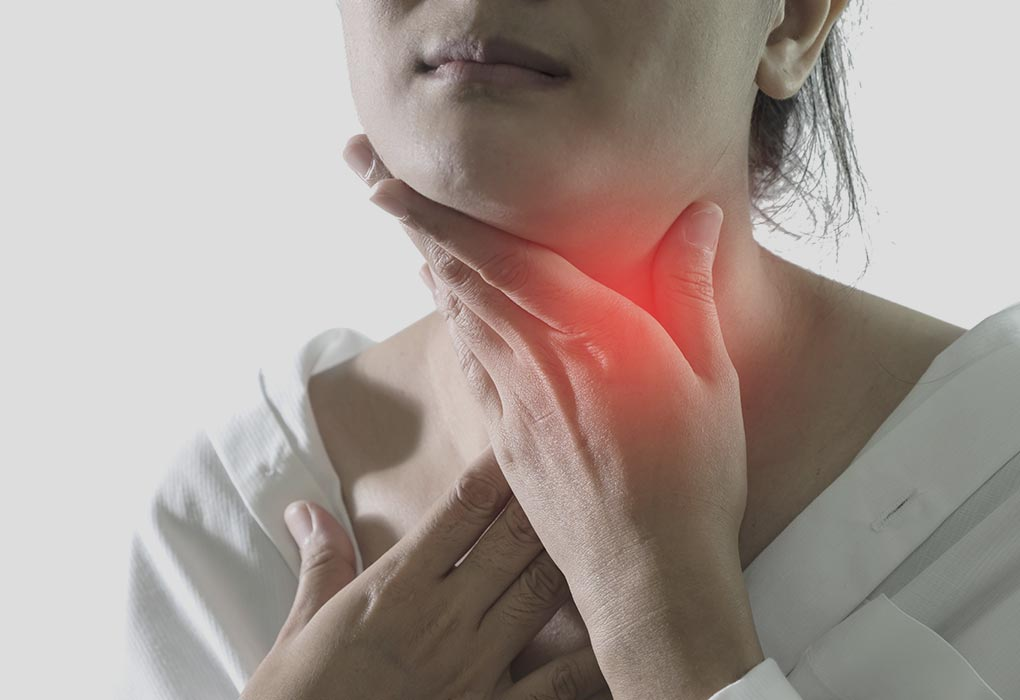 A woman with a sore throat during pregnancy