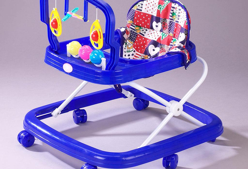 A blue baby walker