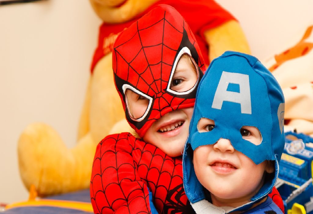 kids wearing superhero costume