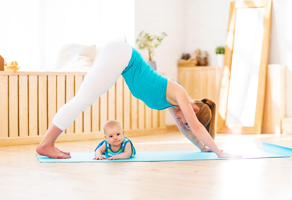 New mom exercising with baby