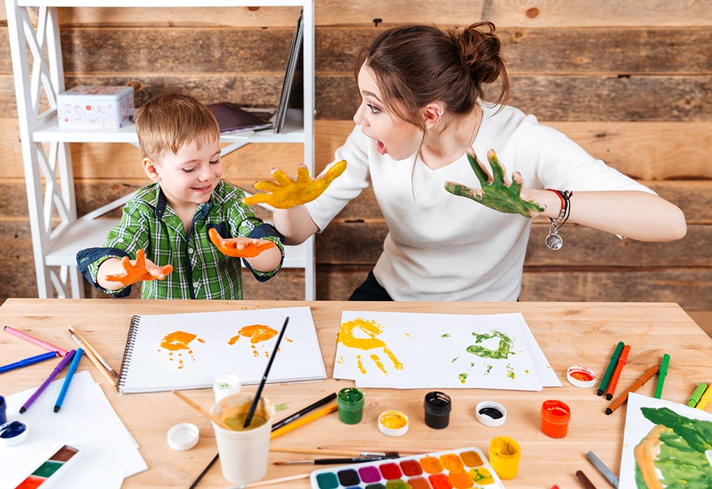 Mother and son enjoying craft activity
