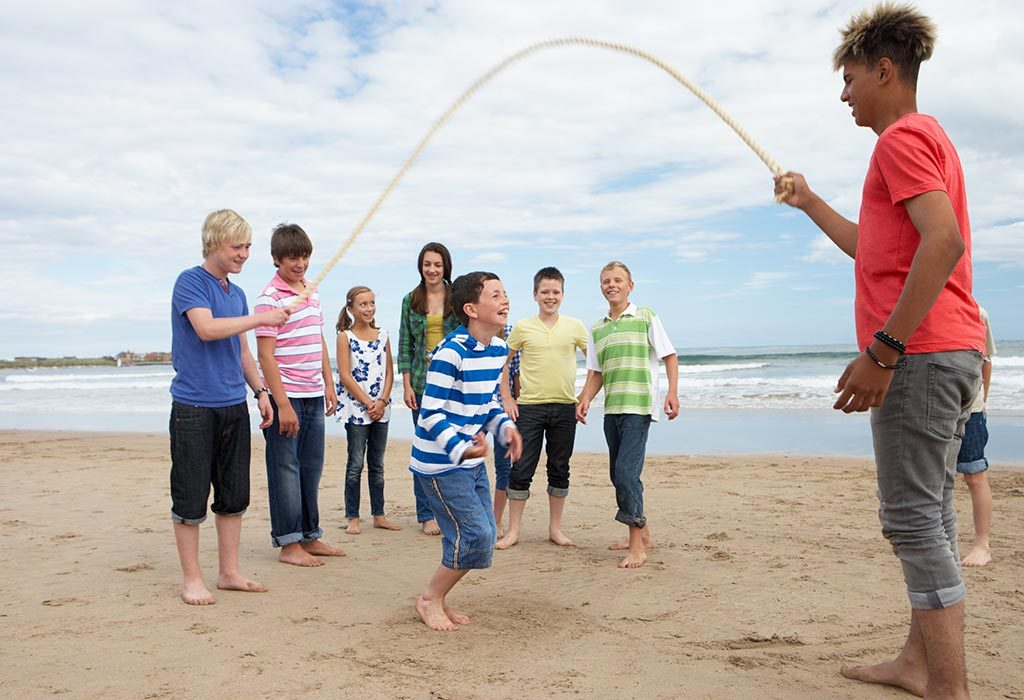Jump rope at the beach
