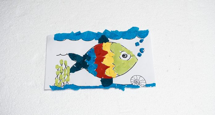 crepe paper rainbow fish diy