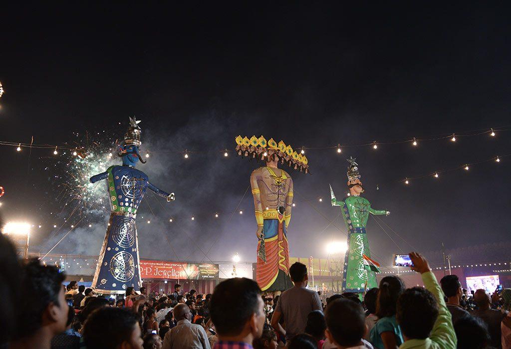 Burning of Raavan effigies