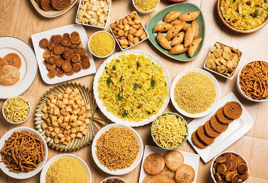 Diwali snacks in reusable plates