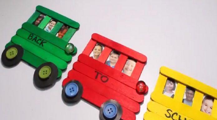 DIY Ice Cream Stick School Bus