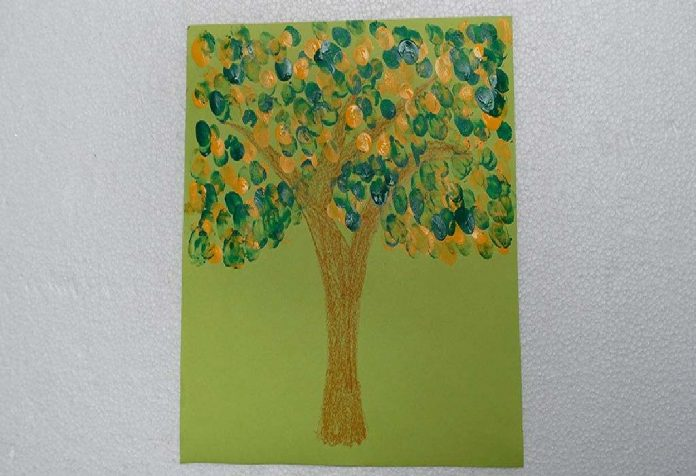 finger painted tree
