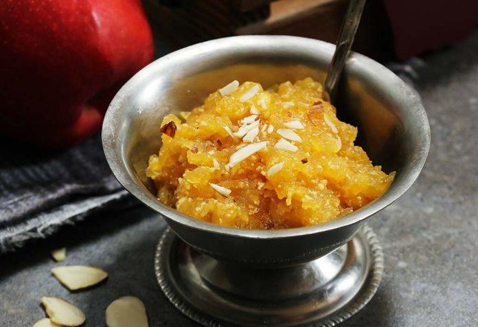 apple almond halwa recipe