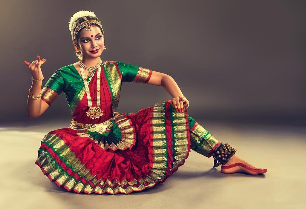 An Indian woman dancing
