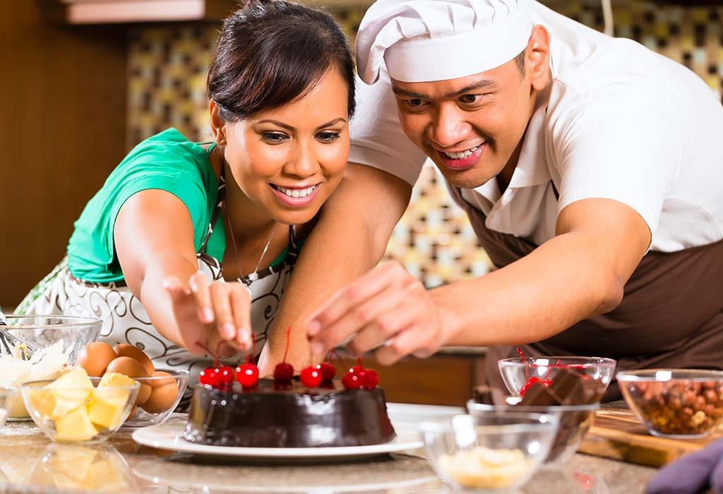 Couple baking chocolate cake