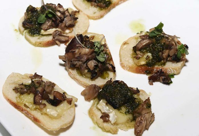 Tasty bruschetta with mushroom topping