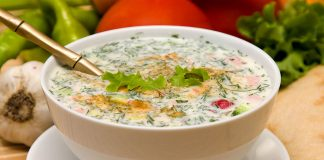 Russian Cold Vegetable Soup with Sour Cream Recipe