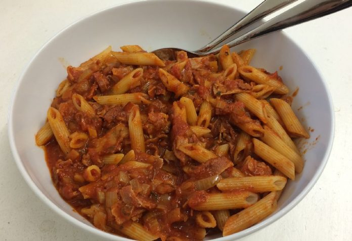 Penne Pasta in Red Sauce with Fish