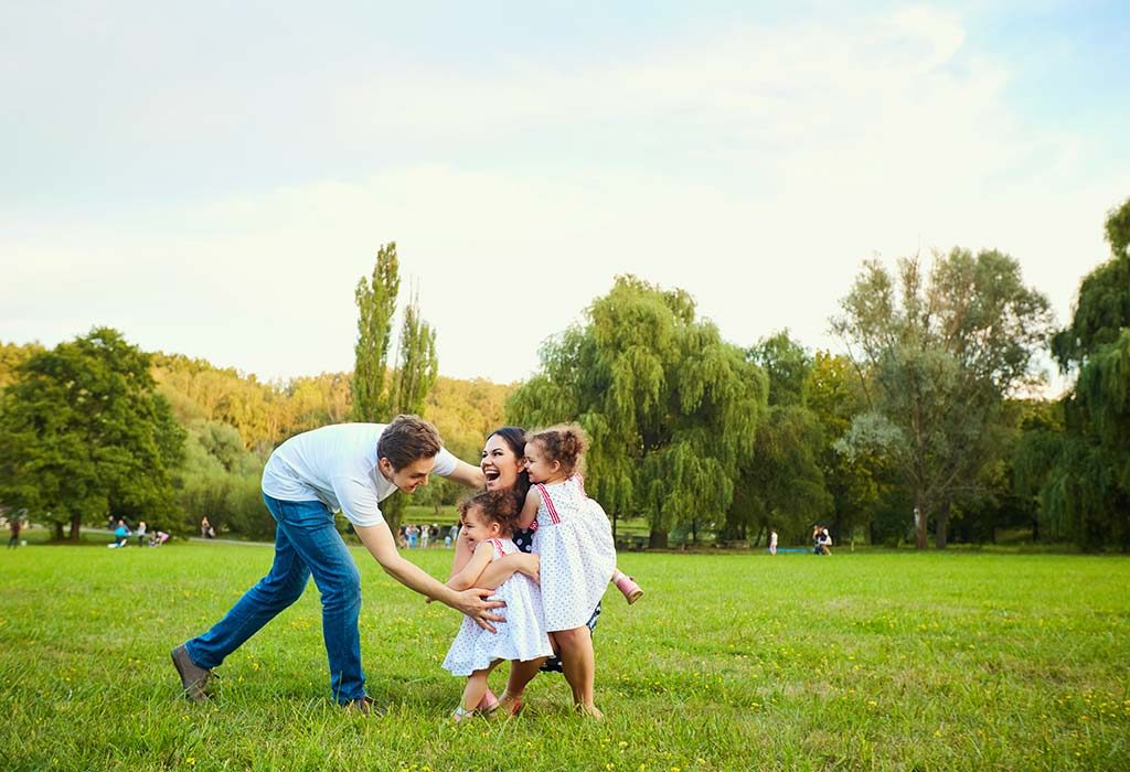 A family spending time together in a park