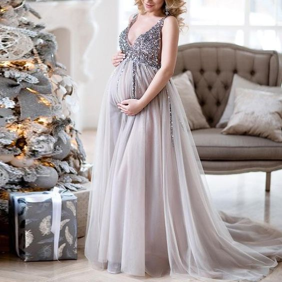 vneck maternity gowns