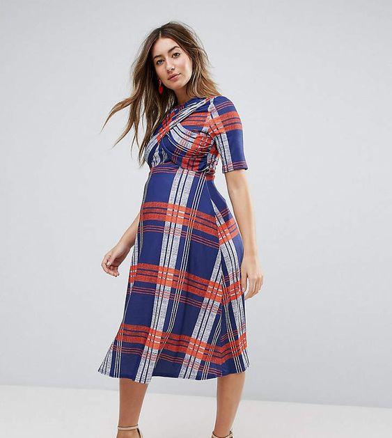 Maternity Checked Dress