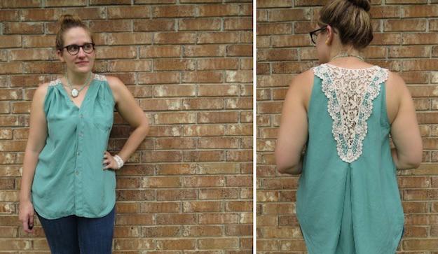 Crochet Back Shirt