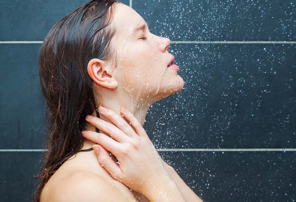 Woman Taking a Soothing Shower