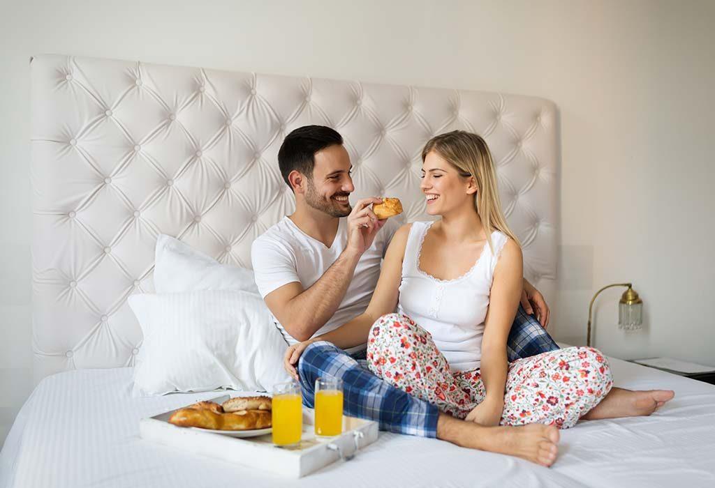 Breakfast in bed for wife