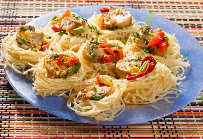 pasta nest with roasted vegetables recipe