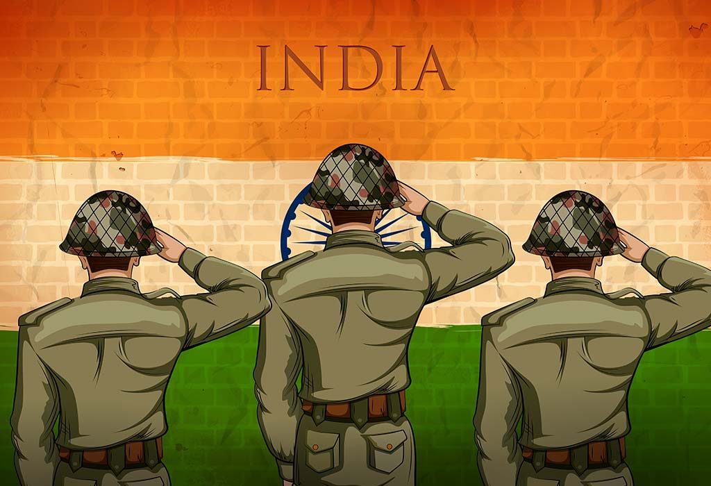 Army Soldiers Saluting the Indian Tricolour