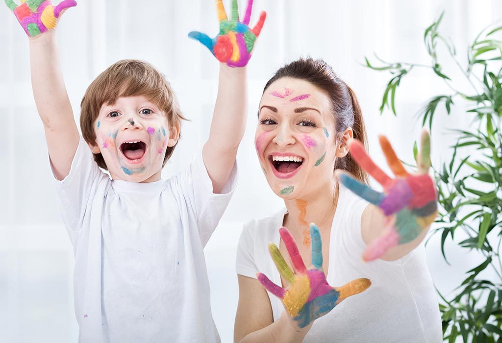 Mom and Son Face Painting
