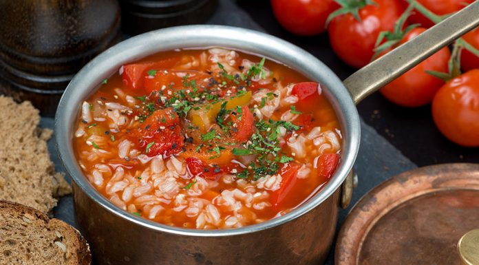 Tomato Soup With Rice And Vegetables Recipe
