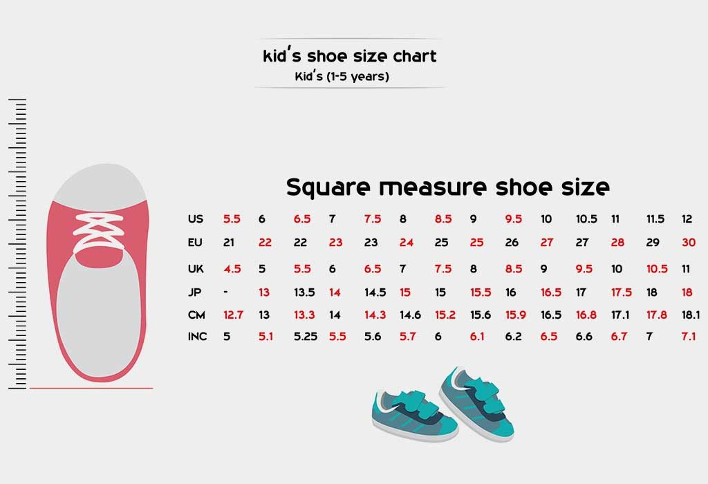 Children Shoe Sizes By Age Chart Girls Boys
