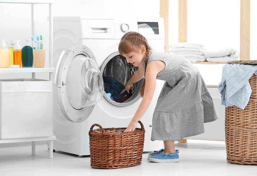 A girl doing laundry