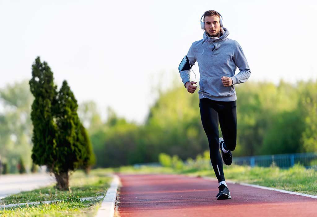 A man jogging/running