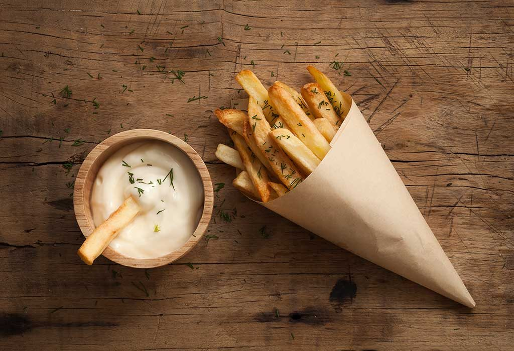 Fries with whipped cream