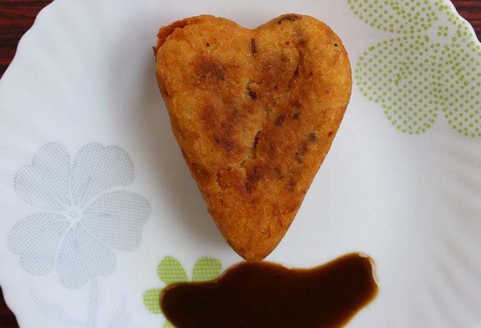 Stuffed Aloo Tikki Hearts Recipe