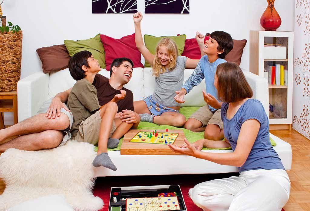 A happy family enjoying a board game