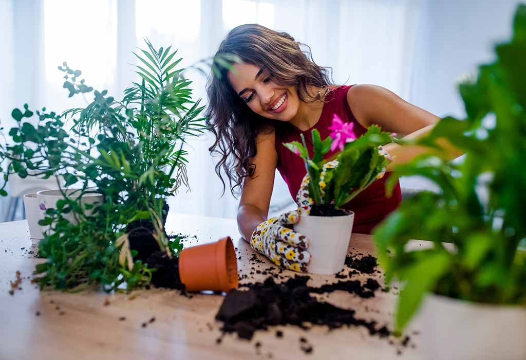 Young woman re-potting a plant