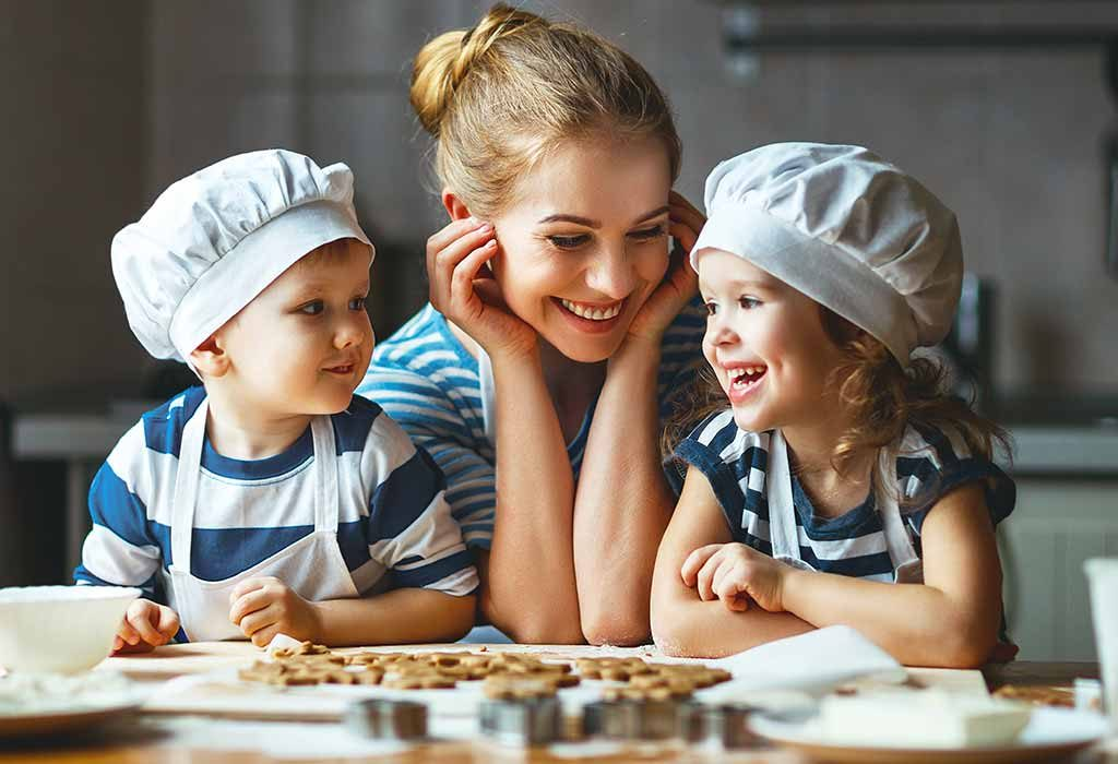Mom and her children cooking together