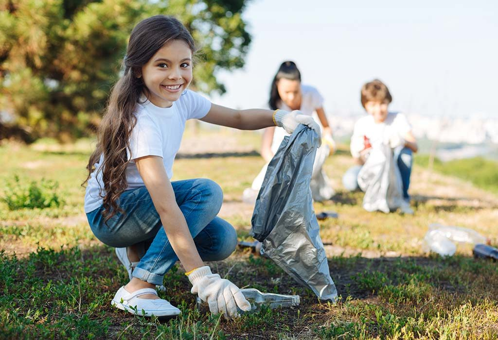 Kind child volunteering for social work