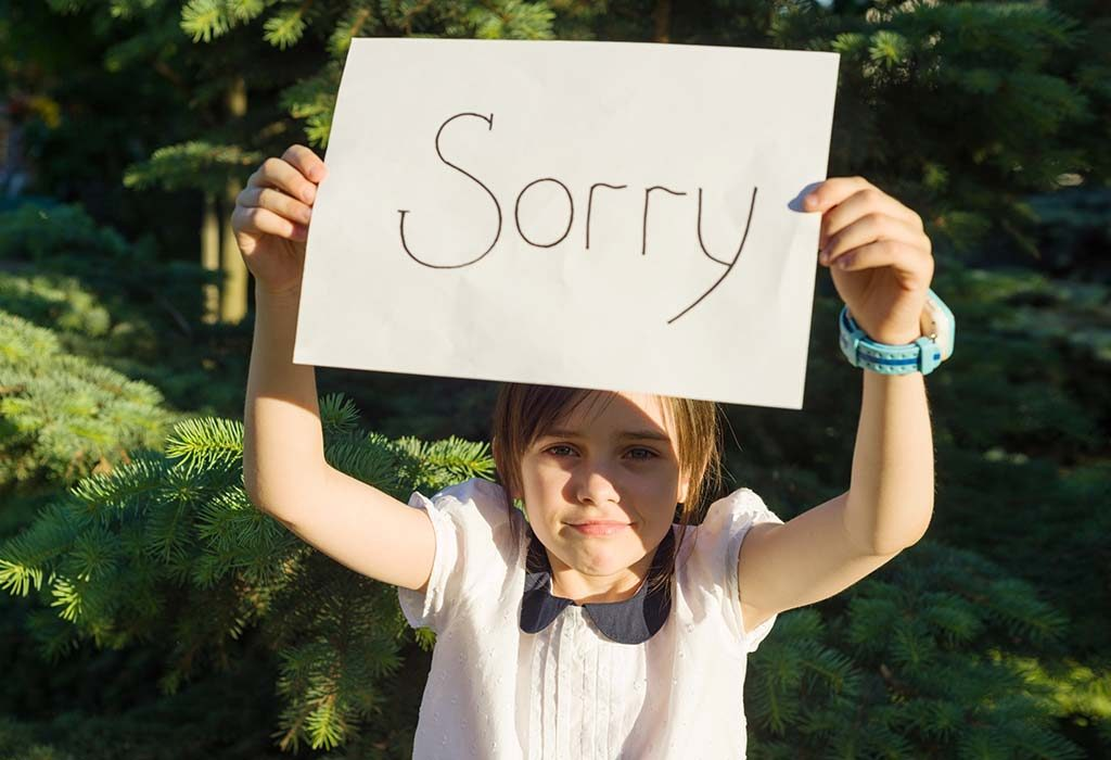 Child saying sorry