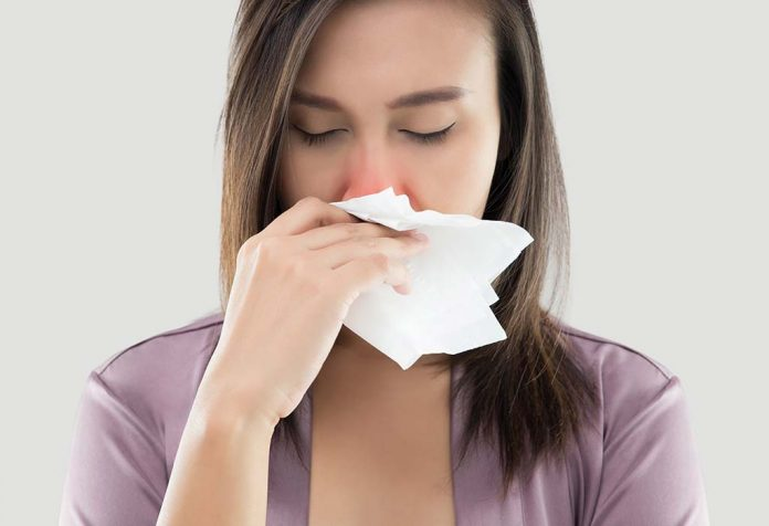 woman with dust allergy