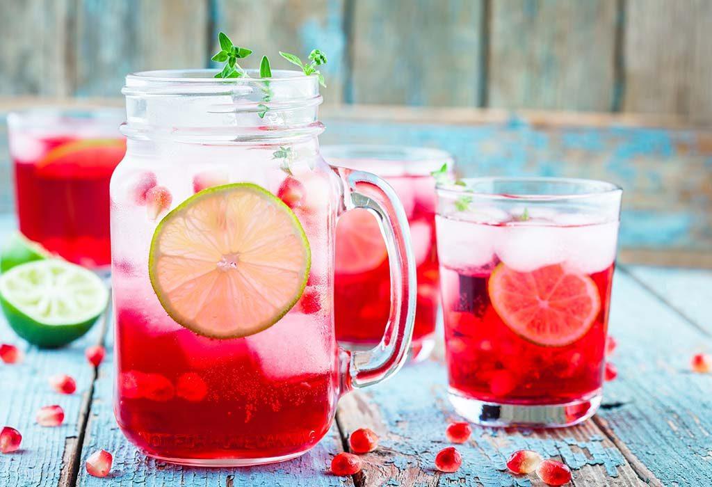 pomegranate and lime iced tea