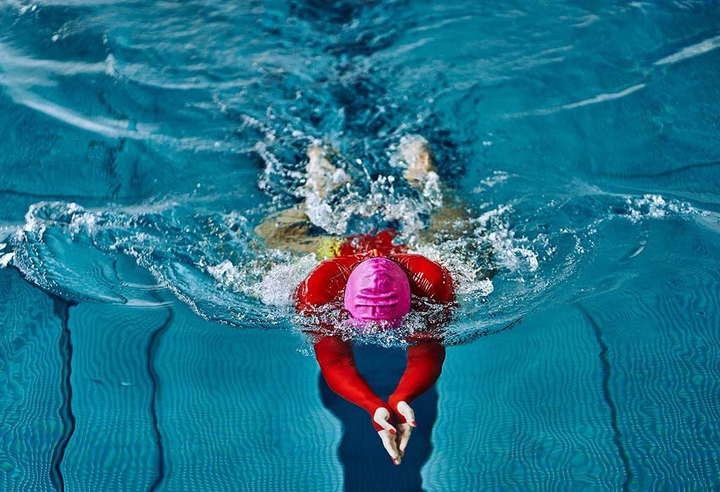 Practising breaststroke