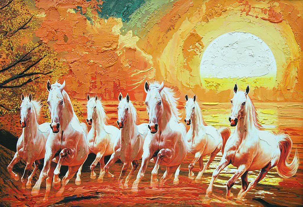 7 running horses painting