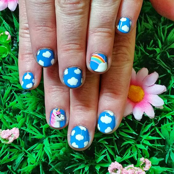 Rainbow and Cloud Nail Art