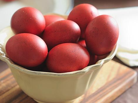 Red dyed eggs