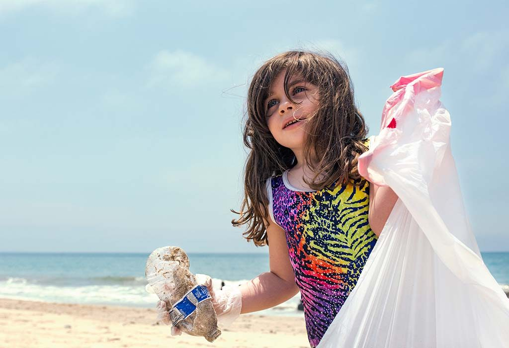 girl participating in clean up drive
