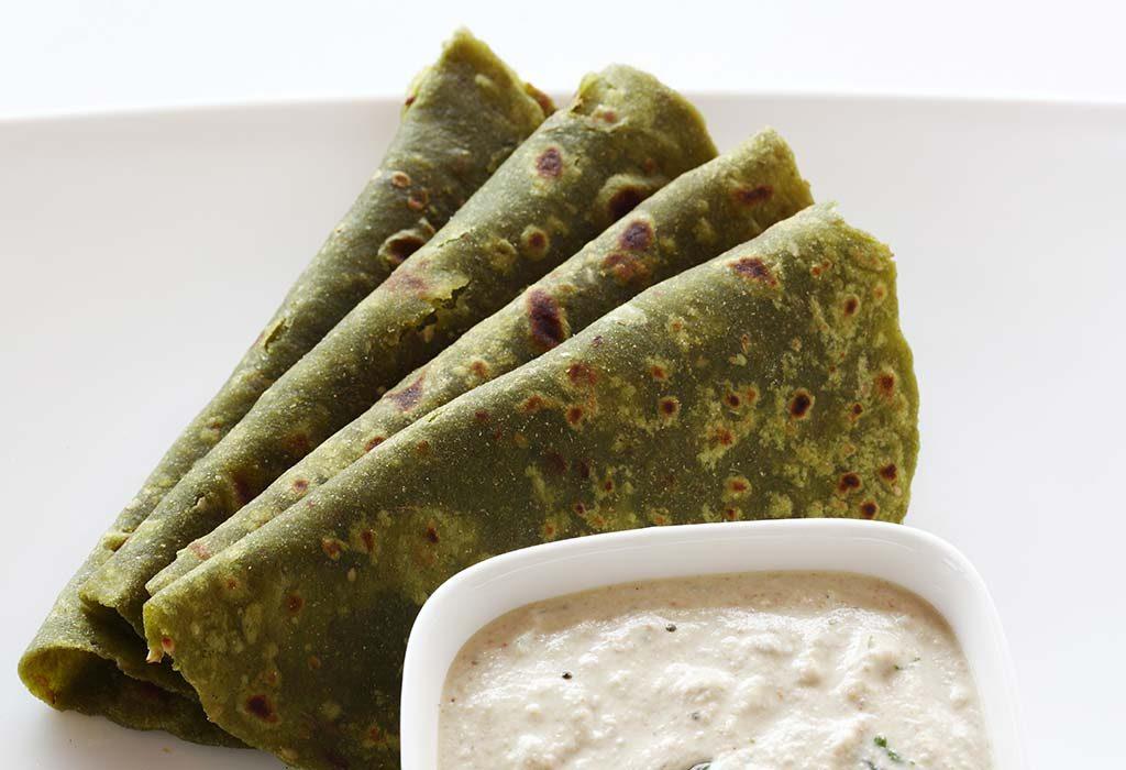 spinach cheese paratha