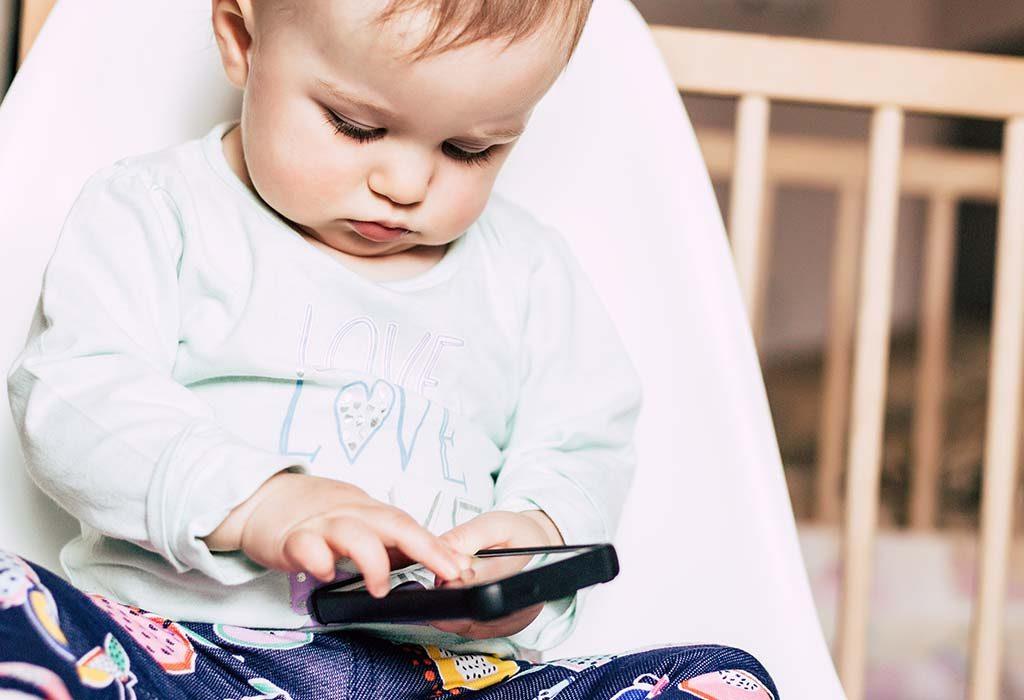 Baby swiping on phone