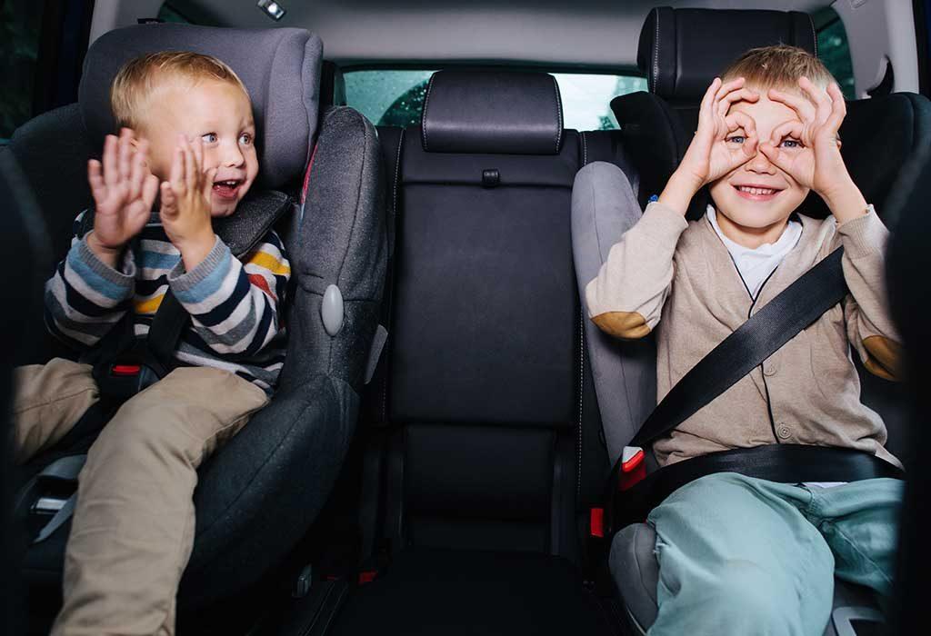 kids having fun during a road trip