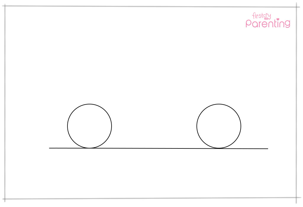 Draw a Horizontal Line and Two Circles Over It