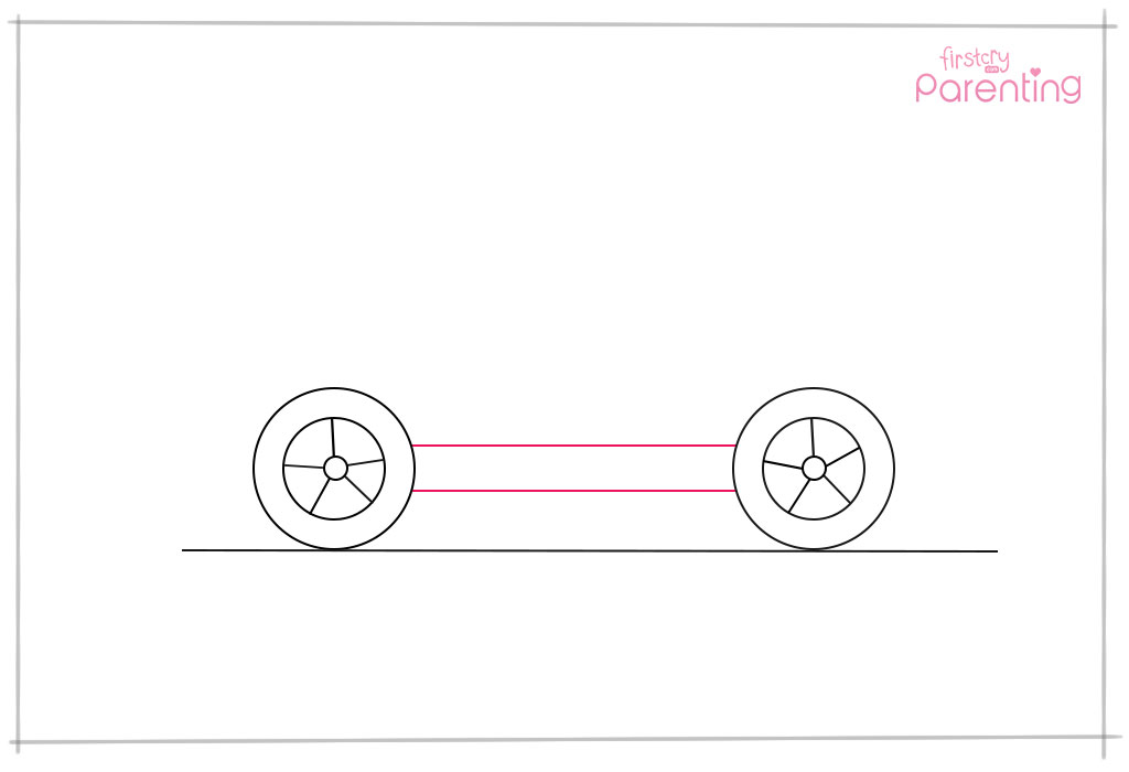 Connect the Wheels With Two Horizontal Lines